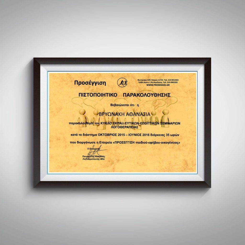 Πιστοποιητικό Παρακολούθησης Κύκλου Εκπαιδευτικών & Εποπτικών Σεμιναρίων Λογοθεραπείας - Αθανασία Βρυωνάκη - Λογοθεραπεύτρια