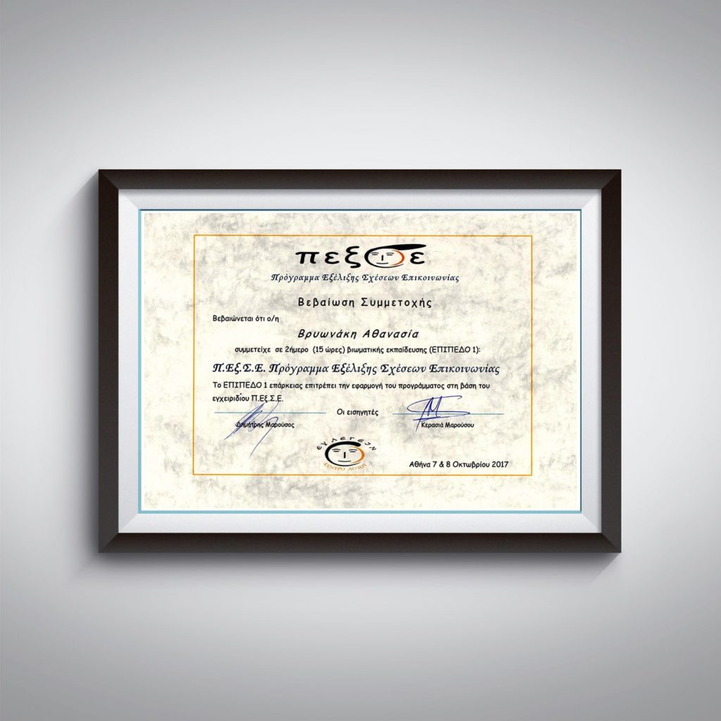 Βεβαίωση Συμμετοχής στο «Π.Εξ.Σ.Ε. Πρόγραμμα Εξέλιξης Σχέσεων Επικοινωνίας» - Αθανασία Βρυωνάκη - Λογοθεραπεύτρια