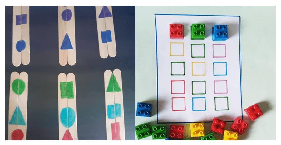 Πάζλ με χρώματα, σχήματα, γλωσσοπίεστρα και τουβλάκια